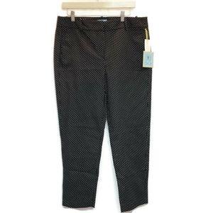 CeCe Sz 14 Pants Black Polka Dot Ankle Cropped